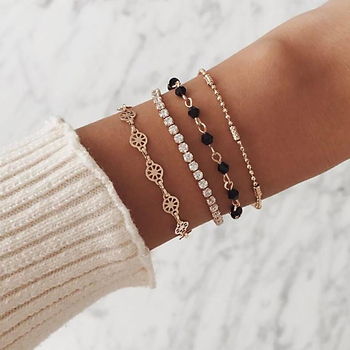 4 Pcs/ Set Simple Engraving Compass Bead Chain Crystal Multilayer Gold Bracelet Set Lady Exquisite Party Clothing Accessories