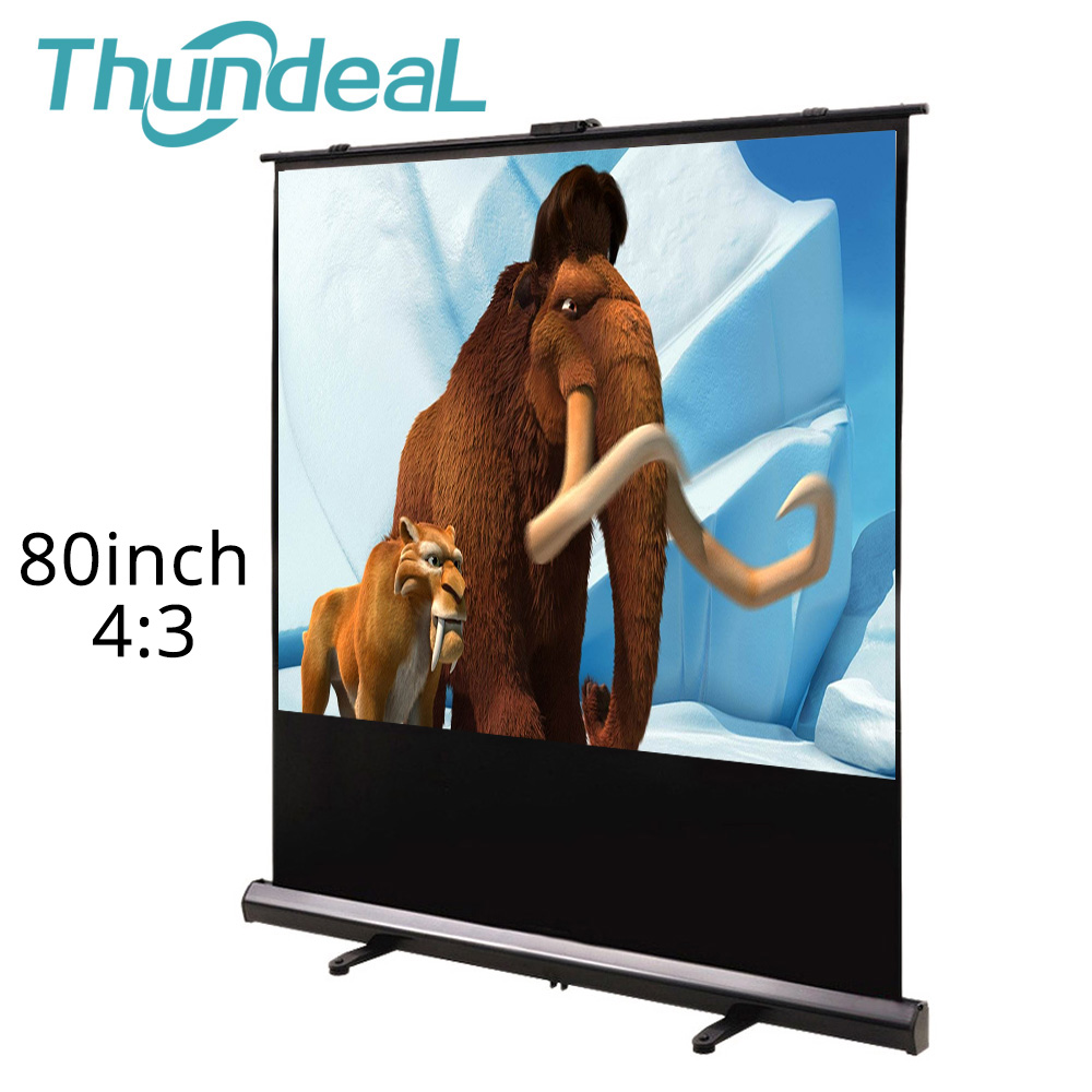 ThundeaL 80inch 100inch 4:3 Projector Screen Floor Up Home Theater Office Outdoor White Pull Up Foldable Stand Projection Screen стоимость