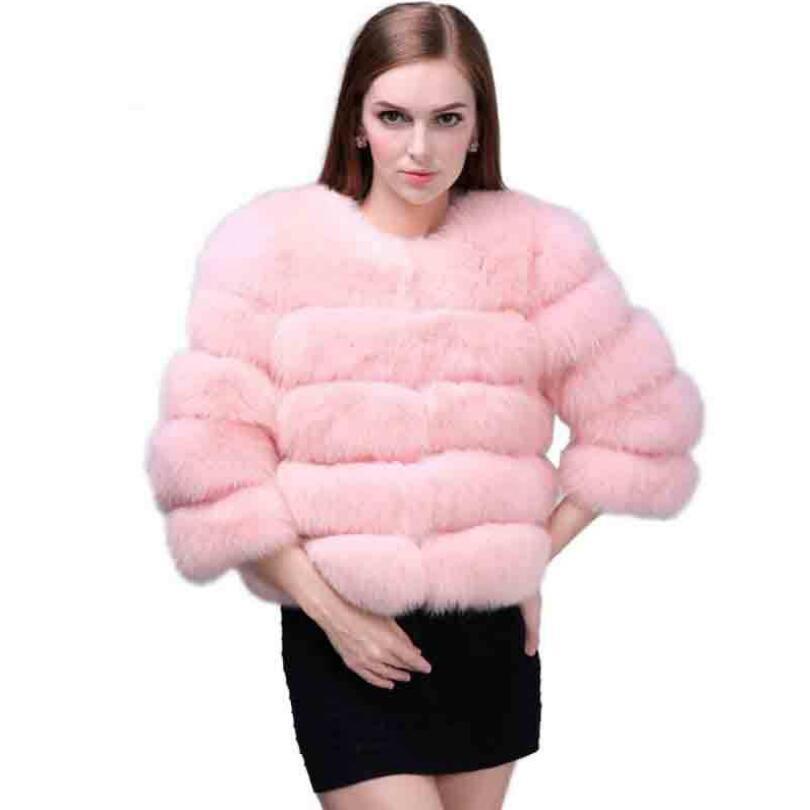 blue Fausse Épais Pink Taille Veste red Fourrure Hiver Femmes photo Manteaux 3xl De Chaud 2018 Manteau Plus Court En La Élégant Moelleux gray S1328 Faux wine 4XxwvF