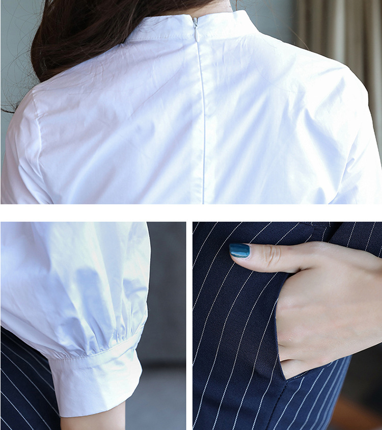 Spring Autumn Women's Chic Suit Small Fragrant Ladies Office Clothing Two Piece Suit Fashion White Patch Stripe Top & Pants Set