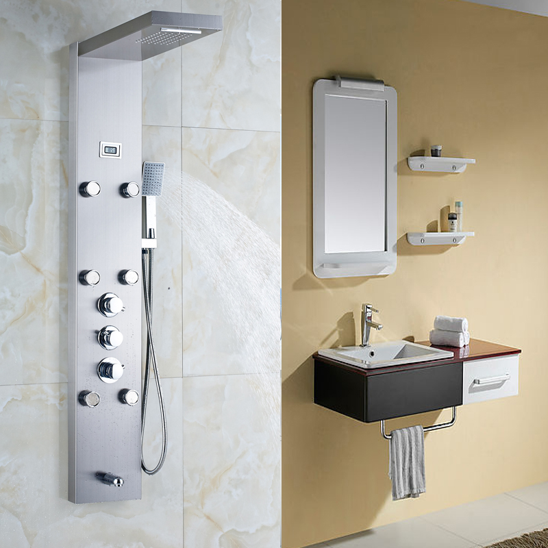 Ulgksd Thermostatic Shower Faucet Jets Bathroom Waterfall Rain ...