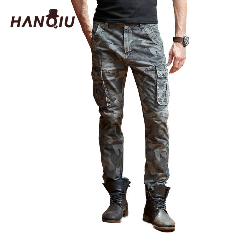HANQIU Cargo Pants Trousers Military-Multi-Pocket Male Men's Camouflage Casual Fashion