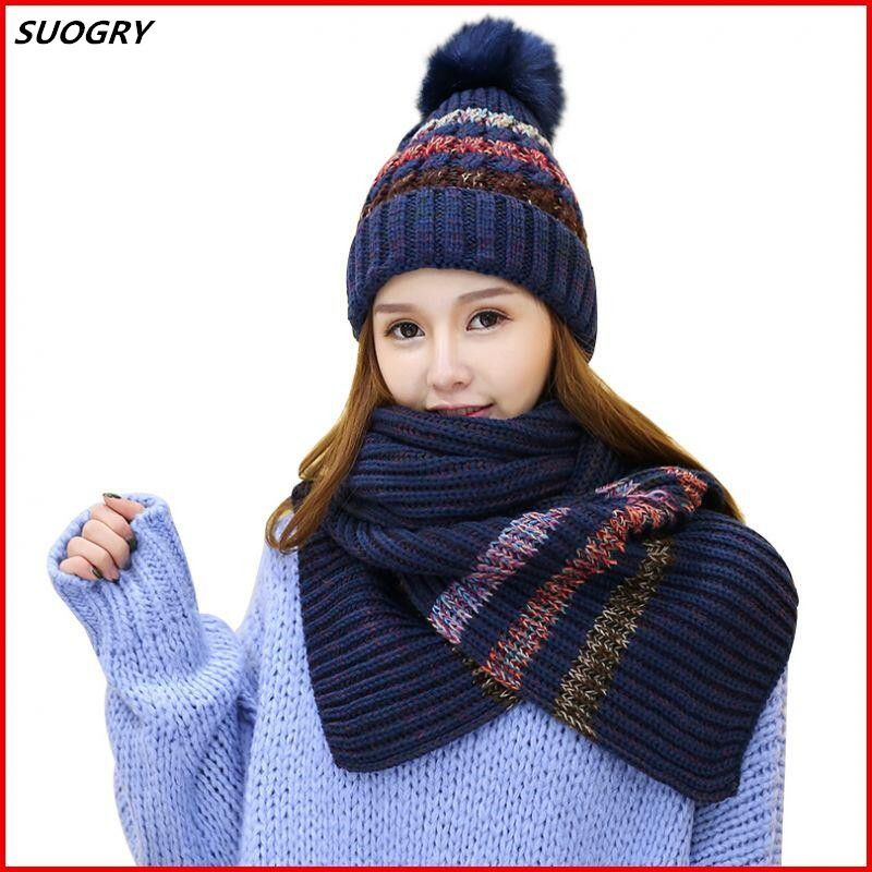 Autumn Winter Hat And Scarf Sets For Women's Hat Thick Warm Knitted Beanies For Girls Fur Ball Skullies Thick Female Beanie