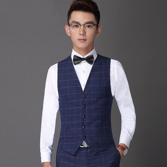 Бренд мужской свободного покроя жилеты мода плед блейзеры жилеты мужчин уменьшают подходящий одежда бизнес костюмы джентльмен пиджаки жилеты торжественная одежда