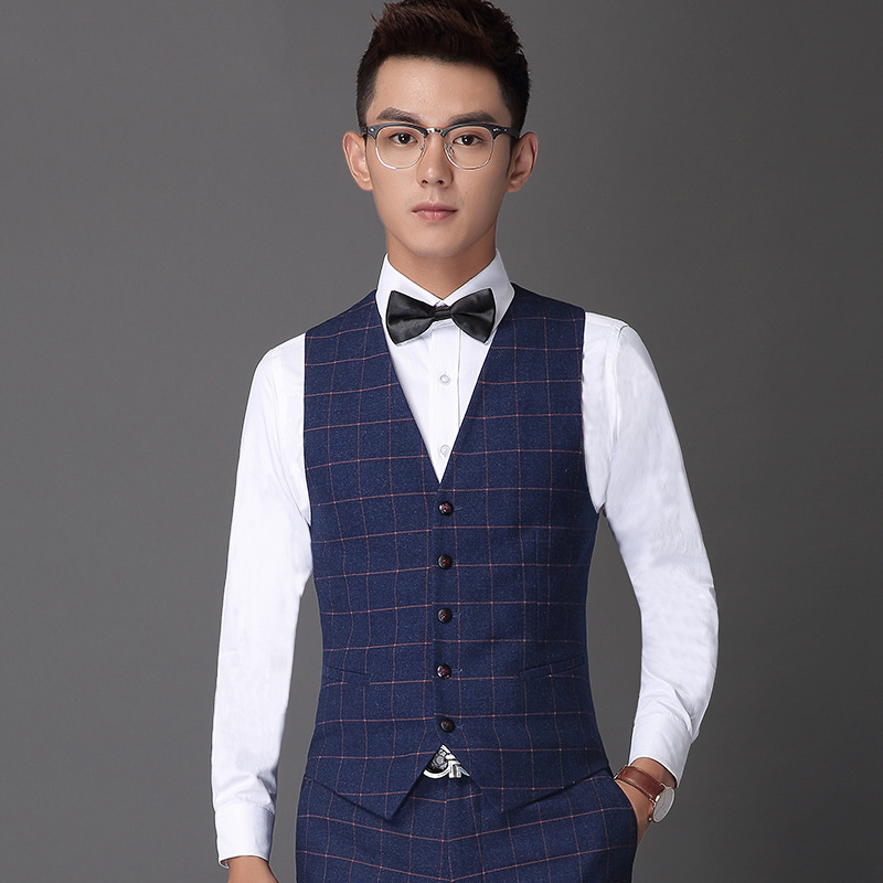 Hombres de la marca Casual chalecos moda Plaid Blazers