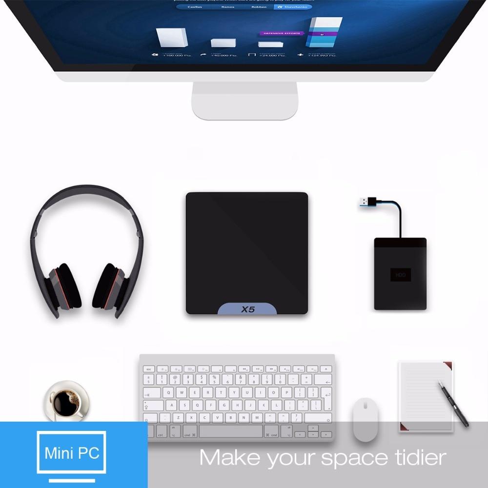 Beelink X5 Mini PC ТВ Коробка двойной ОС Windows 10 Android 5,1 компл. Топ Коробки 2 ГБ 32 г x5-Z8350 64bit BT 4,0 WiFi 1000 м LAN Мадия игрока