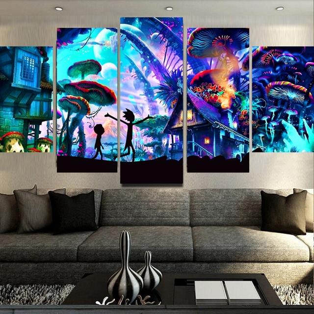 Canvas Wall Art Modular Pictures Home Decor 5 Pieces Rick And Morty Paintings Living Room HD Printed Animation Posters Framework 3