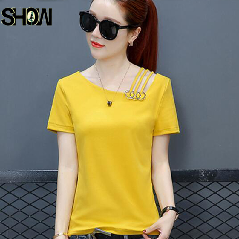 One Open Off Shoulder Tops Women Summer Short Sleeve Casual T-Shirt Cute Sweet GIrls Yellow Black White Sequined Tops Cotton Tee