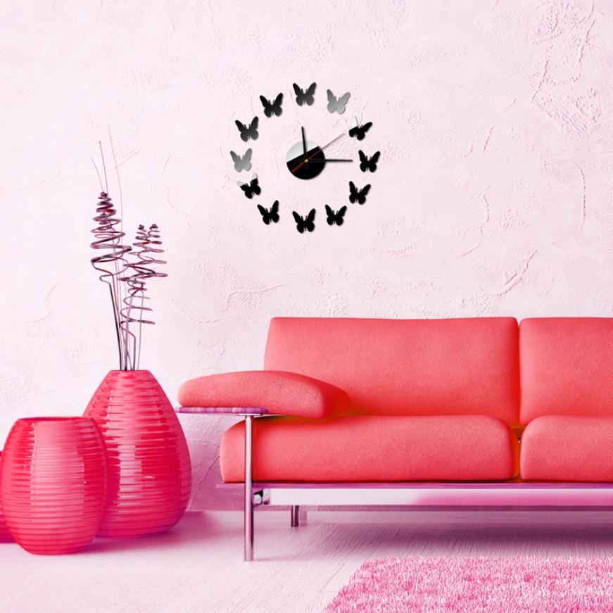 The wall clock sticker for living room home decor acrylic mirror ...