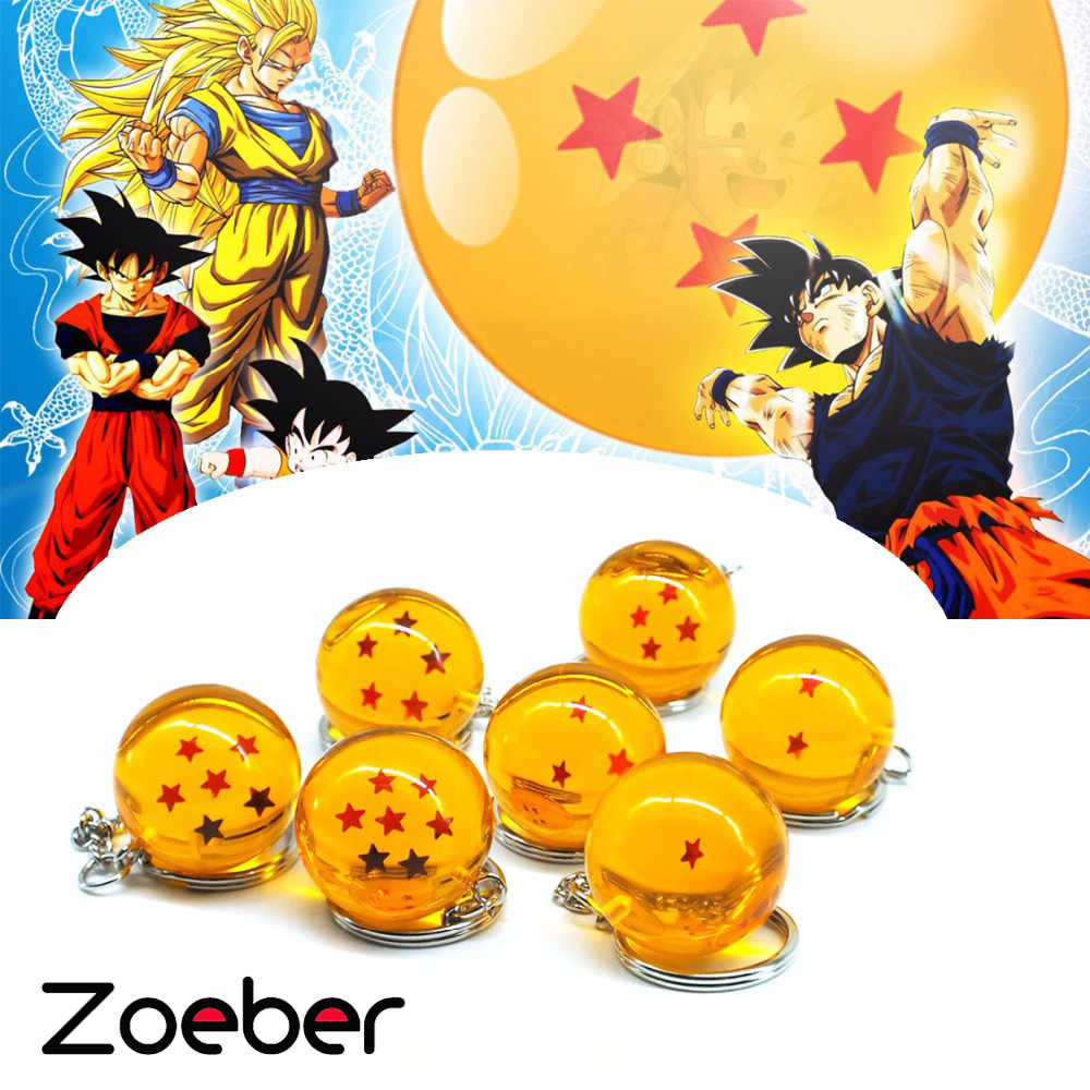 Dos desenhos animados anime Dragon Ball Z DBZ Chaveiro Criança cosplay 7 Dragonball Z Estrelas Crystal Ball Chaveiros PVC Pingente de chave titular