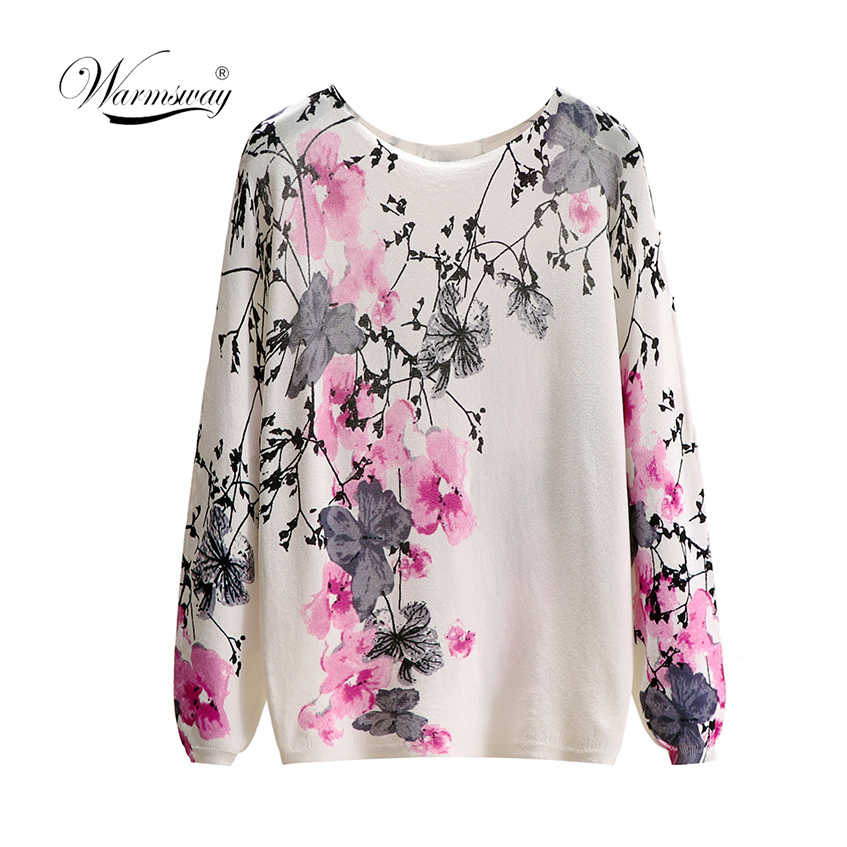 Mujeres chic Slash neck jumper multicolor estampado floral femenino suave cuello redondo pulóveres B-062