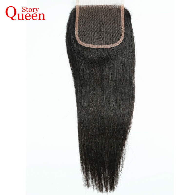 Queen Story Hair 4X4 Free Part Lace Closure Peruvian Straight Hair Swiss Lace 130 Density Remy