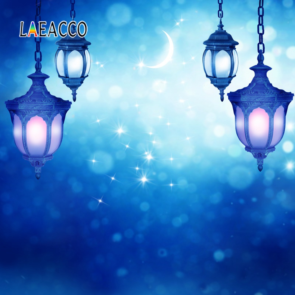 Laeacco Eid al-Fitr Crescent Mubarak Wreath Baby Scene Photographic Ramadan Background Photography Backdrop For Photo Studio