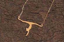 Gold Gymnastic Necklace , Gymnast Silhouette Charm , Sports Lover Gift , Gymnast Charm , Gymnast Jewelry , Acrobat Jewelry