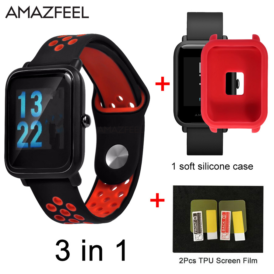 Protective Case For Xiaomi Amazfit Bip Youth Watch Soft Silicone Cover Protect Shell 3in1 Band Huami Bit Strap Wristband