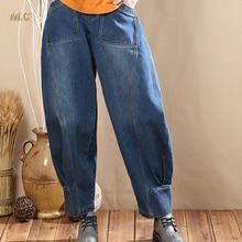 Хлопок, джинсовая плюс размер упругой шаровары брюки для женщин высокая талия свободные осень-весна шаровары женские брюки sqf0601