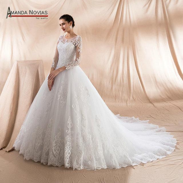amanda novias bonito vestido de boda de perlas de nuevo vestido de