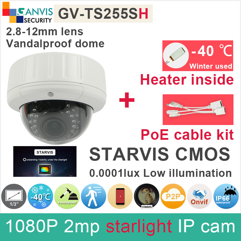 Built in heater starlight 1080P IP camera outdoor dome SONY IMX291 cmos 2mp cctv camera with PoE cable kit GANVIS GV-TS255SH pk sony starvis built in heater poe cable kit ip camera 1080p full hd 2mp starlight cctv camera outdoor dome ganvis gv ts255vh pk