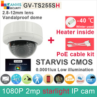 Built In Heater Starlight 1080P IP Camera Outdoor Dome SONY IMX291 Cmos 2mp Cctv Camera With