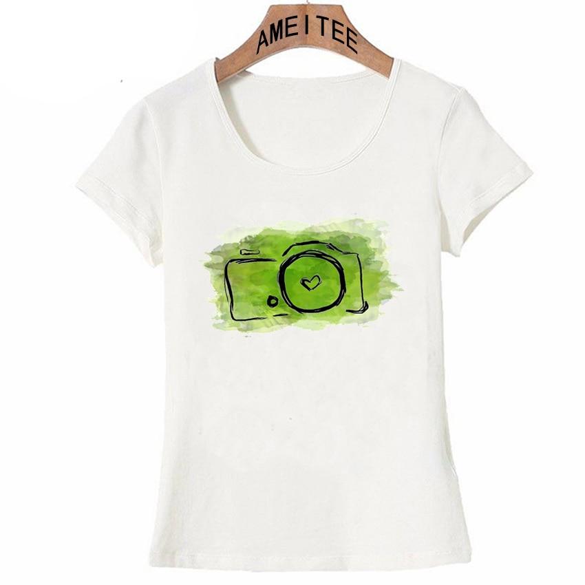 e76e6aa2 Green Abstract Camera Doodle Art T Shirt Summer Fashion Women T