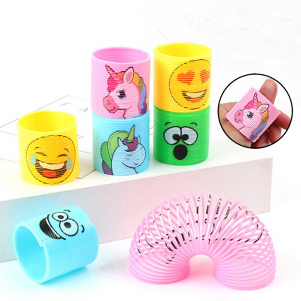 12Pcs/pack Unicorn Emoji Face Coil Springs Birthday Party Gift Favors for Kid Carnival Prize Goody Bag Stuffers Fillers Assorted
