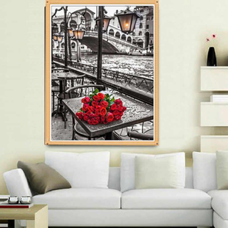 DIY мозаичная инкрустация в виде роз уличные лампы речной пейзаж круглая Алмазная картина набор вышивки крестом мозаика домашний декор