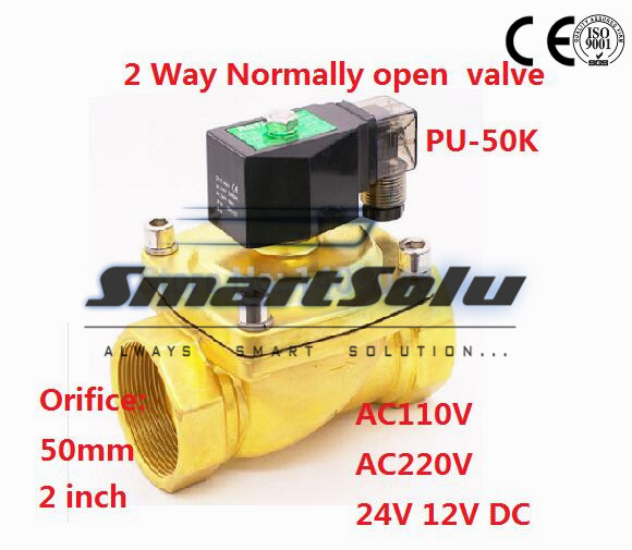 Free shipping 2 way brass Normally open large 2 inch water solenoid valves for irrigation price cheap 110VAC 50mm zero pressure 1 2 steam valves water valves 2 2 way solenoid valves direct acting