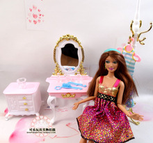 New Princess Dresser Chair Table Set Dollhouse Furniture for barbie Kurhn Doll Puzzle Baby Toy Bedroom