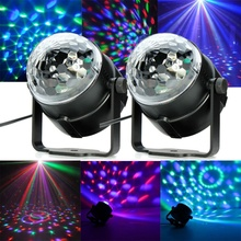 2PCS DMX Sound Activated Crystal Magic Rotating Ball Disco Party DJ Lamp Laser Projector Stage Lighting Effect