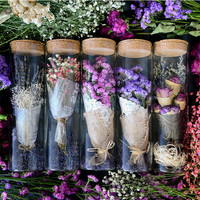 Natural Dried flower +Glass bottle purple myosotis Gypsophila Preserved Flower wedding gift Christmas gift home decoration