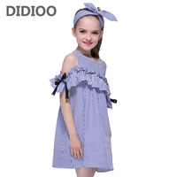 Dresses For Girls Summer Striped Dresses For Girls Kids Off Shoulder Vestidos Children Strapless Dress Plus