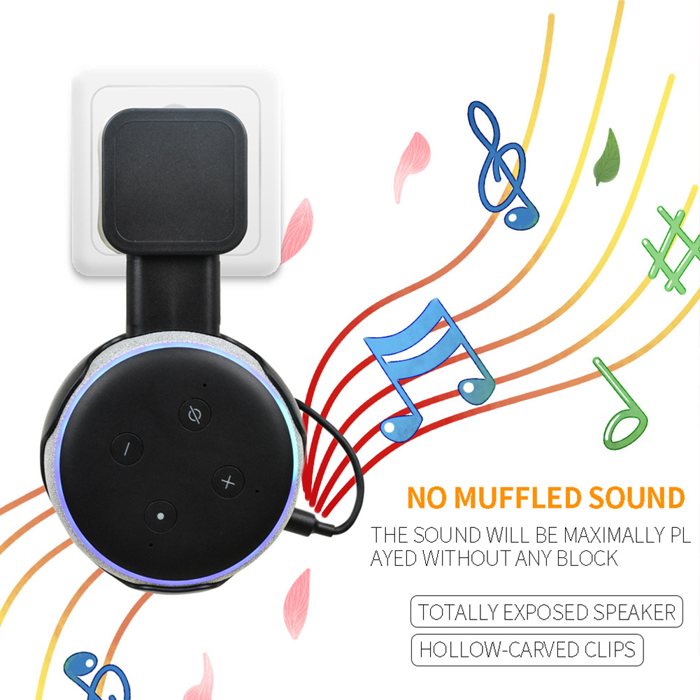 Outlet Hanging Stand Case ABS Wall Mount Organizer Audio Accessories Speaker Living Room Storage Holder Plug In For Echo Dot 3