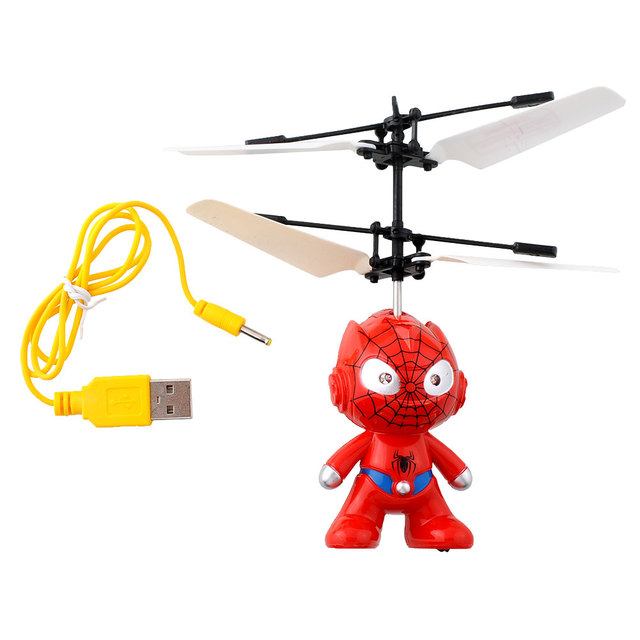 Small SpiderMan RC Helicopter Aircraft Kid Toys