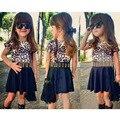 2016 Summer Girls dress Leopard Children Clothing Kids Dresses For Baby Girls Roupas Infantis Menina Vestidos Infantis With Belt