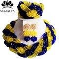 2017 Мода Нигерии Свадьба африканские бусы комплект ювелирных изделий blue Crystal ожерелье браслет Свадебные Ювелирные наборы Бесплатная доставка E-005