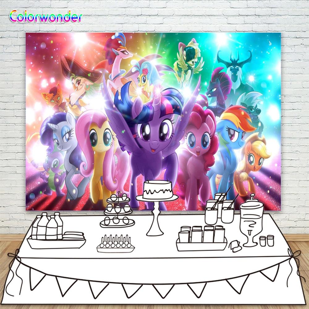 2019 Mode 7x5ft Fotografie Hintergrund Glitter Nette Einhorn Pony Kulissen Für Prinzessin Geburtstag Party Regenbogen Farbe Baby Dusche Hintergrund 100% Original