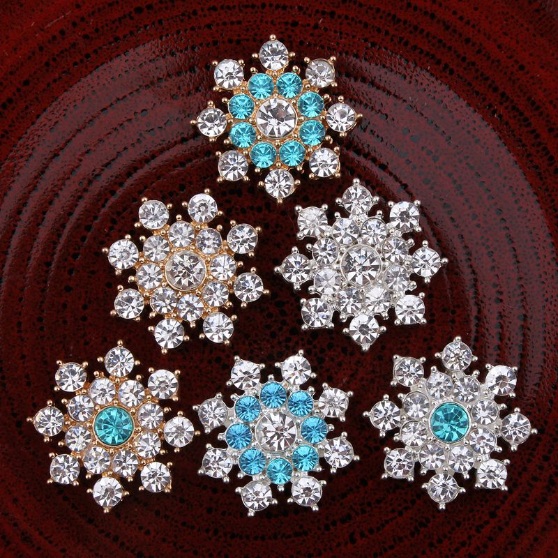 30PCS 25MM Bling Metal Rhinestone Buttons Ornaments Clear Alloy Mixed Colors Crystal Flatback Buttons for Girls Hair Accessories