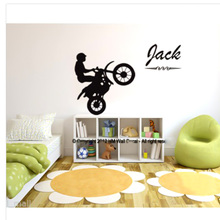 Customise your kids name with a boy riding bike bedroom wall stickers room decoration