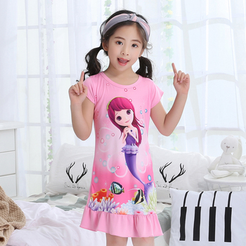 Children's Day Gift 2018 Summer Print Cartoon Sleep Dress Short-sleeved Girls Pajamas Cute Princess Skirt Sleeping At Home Sleepwear & Robes