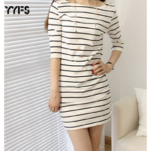 YYFS 2019 Summer Long T shirt women striped Tight t-shirt women Casual O-neck vintage tee shirt femme camisetas mujer plus size casual scoop neck striped twisted t shirt for women