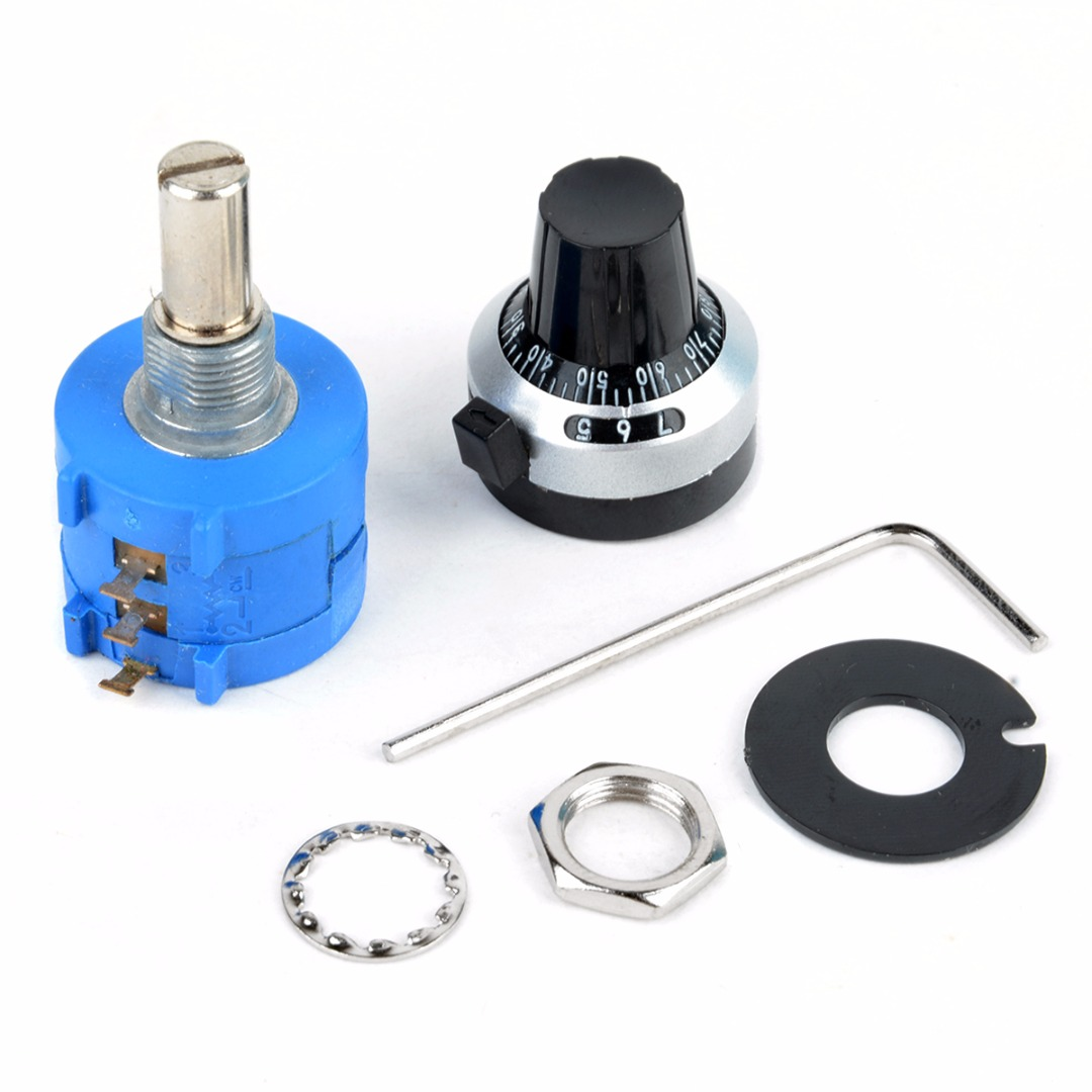 1pc Adjustable 10K Ohm 10 Turn  Potentiometer + Counting Dial Rotary Knob with Wrench