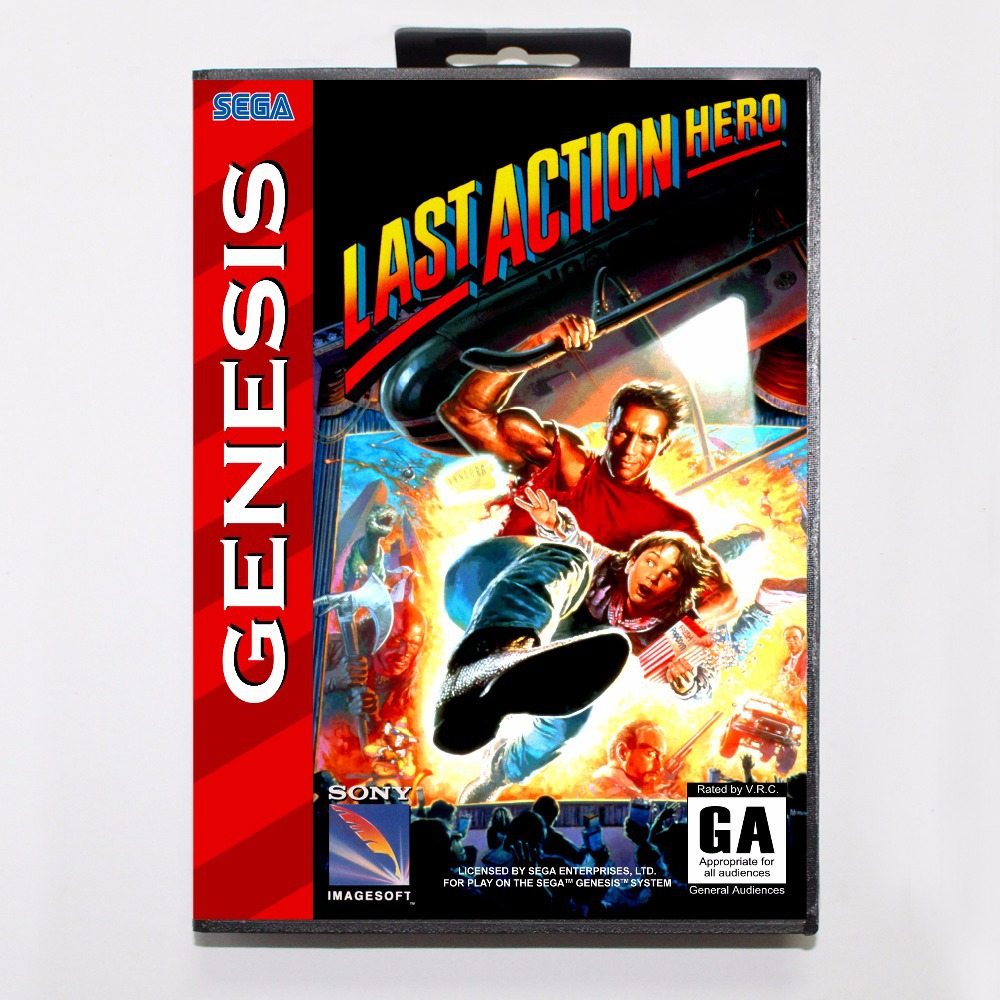 Last Action Hero Game Cartridge 16 bit MD Game Card With Retail Box For Sega Mega Drive For Genesis