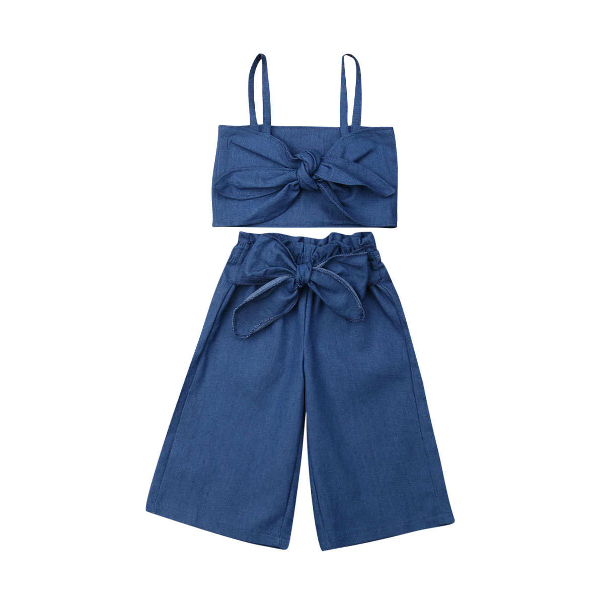 US Kids Baby Girl Clothes Sleeveless Denim Sling Vest Tops+Long Pants Outfit Set