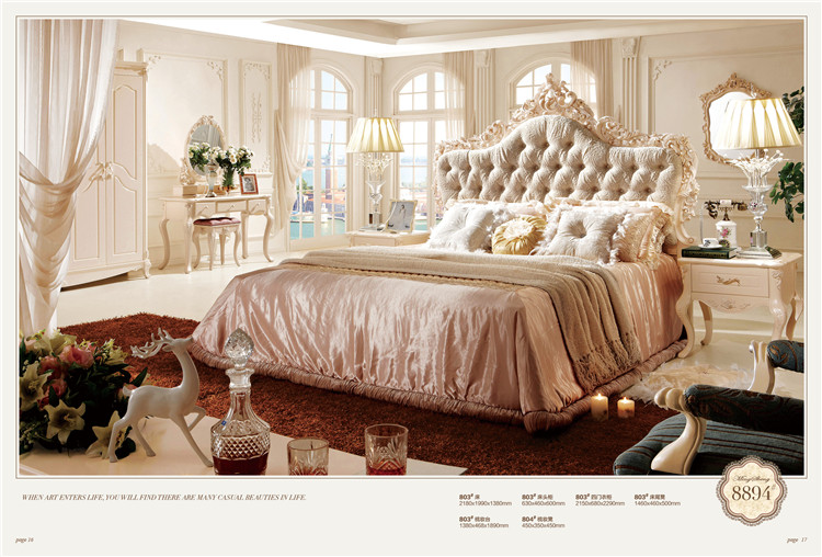 Antique Luxury French Type Wooden Bed Home Furniture Wooden Bedroom Set 0409