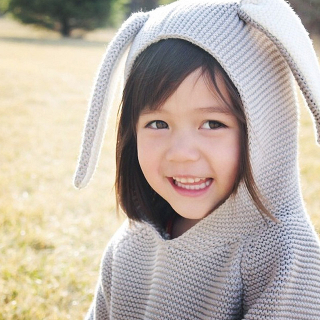Donkey Ears Pattern Baby Girls Cotton Sweaters Spring Autumn Children Sweater Hooded Infant Clothes Kids New