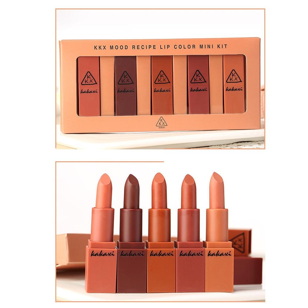 Hot Sale 5 Pcs/Set Lipstick Nude Matte Lipstick Waterproof Long Lasting Basis Lip Kit Makeup Cosmetics Lipstick#YL1