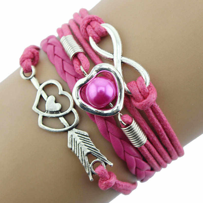 2018 Gofuly Retro DIY Infinity Fashion Leather Handcuffs Love Heart Pearl Friendship Antique Braided Wristband Bracelet Girl F