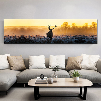 Modern Home HD Printed Wall Art Poster Frame  Pictures Forest Animal Deer Landscape Painting On Canvas Room Decor