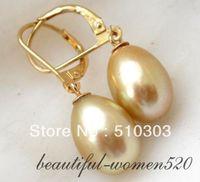 13mm Champagne Rice Freshwater Pearl Earring 14k