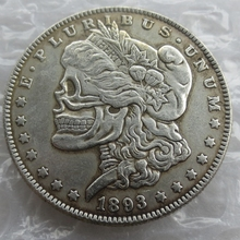 US Head-To-Head Two Face 1893cc Morgan Dollar skull zombie skeleton hand carved Copy Coins High quality
